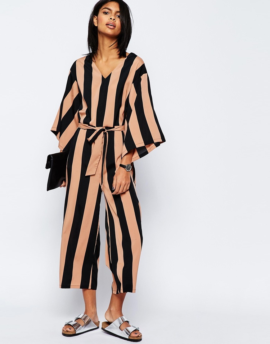 Belted Jumpsuit With Kimono Sleeve In Stripe Multi - neckline: v-neck; fit: loose; sleeve style: kimono; pattern: striped; waist detail: belted waist/tie at waist/drawstring; secondary colour: coral; predominant colour: black; occasions: casual, creative work; length: calf length; fibres: polyester/polyamide - 100%; sleeve length: 3/4 length; style: jumpsuit; pattern type: fabric; pattern size: big & busy; texture group: other - light to midweight; multicoloured: multicoloured; season: s/s 2016; wardrobe: highlight