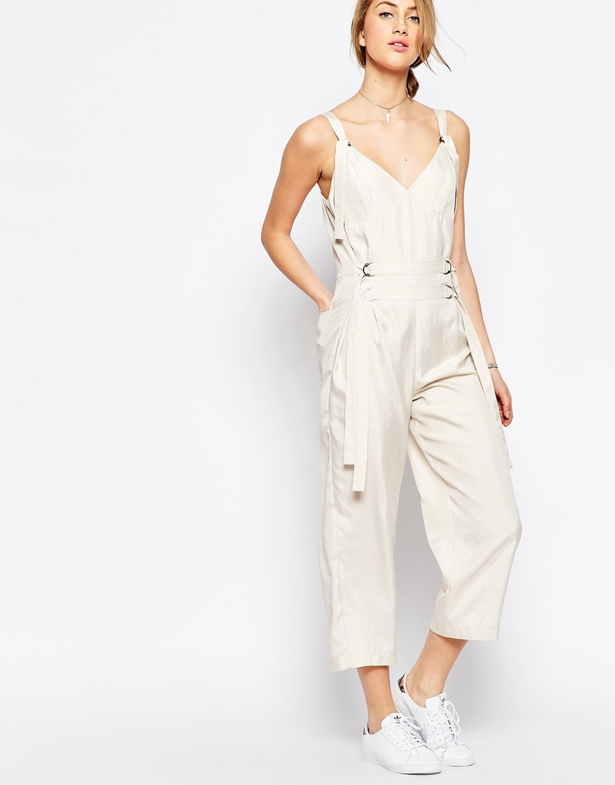 Jumpsuit With Strapping Detail Cream - neckline: v-neck; pattern: plain; sleeve style: sleeveless; predominant colour: ivory/cream; occasions: casual; length: calf length; fit: body skimming; fibres: polyester/polyamide - 100%; sleeve length: sleeveless; style: jumpsuit; pattern type: fabric; texture group: other - light to midweight; season: s/s 2016; wardrobe: highlight