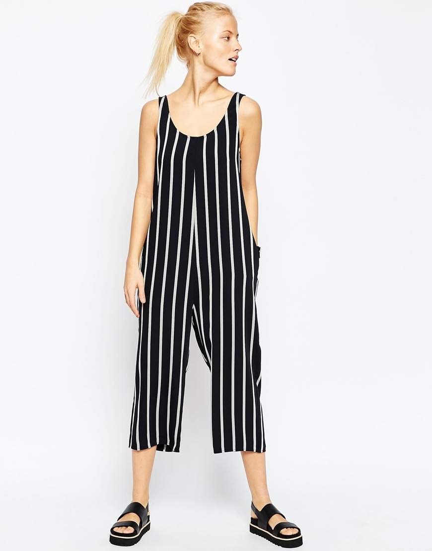 Minimal Jumpsuit In Stripe Black/White - sleeve style: sleeveless; pattern: striped; secondary colour: white; predominant colour: black; occasions: casual; length: calf length; fit: body skimming; neckline: scoop; fibres: polyester/polyamide - mix; sleeve length: sleeveless; style: jumpsuit; pattern type: fabric; texture group: jersey - stretchy/drapey; season: s/s 2016