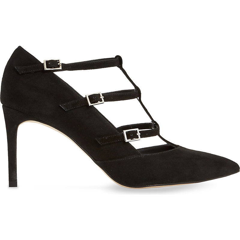 Ashlea Suede Courts, Women's, Eur 41 / 8 Uk Women, Black Suede - predominant colour: black; occasions: evening, occasion; material: suede; heel height: high; embellishment: buckles; ankle detail: ankle strap; heel: stiletto; toe: pointed toe; style: courts; finish: plain; pattern: plain; season: s/s 2016