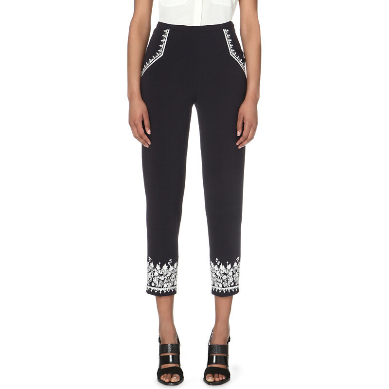 Jasmine Embroidered Stretch Crepe Trousers, Women's, Utility Blue - waist: mid/regular rise; secondary colour: white; predominant colour: black; occasions: casual; length: calf length; fibres: polyester/polyamide - stretch; texture group: crepes; fit: slim leg; pattern type: fabric; pattern: patterned/print; style: standard; embellishment: embroidered; multicoloured: multicoloured; season: s/s 2016; wardrobe: highlight