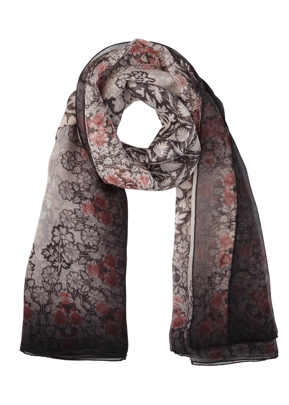 Rose Floral Print Chiffon Scarf - predominant colour: ivory/cream; secondary colour: pink; occasions: casual, creative work; type of pattern: large; style: regular; size: standard; material: fabric; pattern: florals; season: s/s 2016; wardrobe: highlight