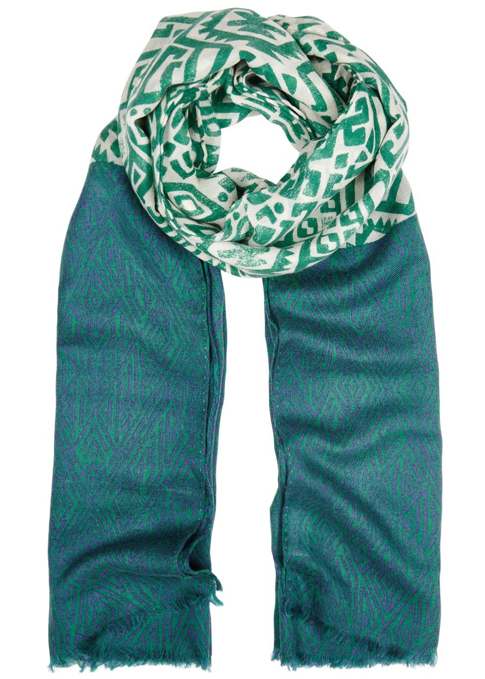 Green Printed Cashmere Blend Scarf - predominant colour: dark green; occasions: casual; type of pattern: standard; style: regular; size: standard; pattern: patterned/print; material: cashmere; season: s/s 2016; wardrobe: highlight