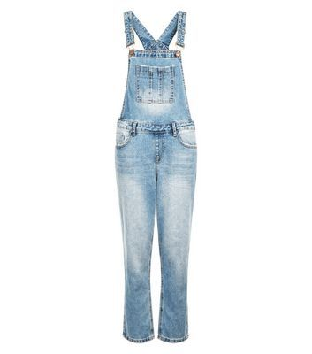 Blue Bleached Denim Cigarette Dungarees - length: standard; pattern: plain; sleeve style: sleeveless; predominant colour: pale blue; occasions: casual; fit: body skimming; fibres: cotton - stretch; sleeve length: sleeveless; texture group: denim; style: dungarees; neckline: medium square neck; pattern type: fabric; season: s/s 2016; wardrobe: highlight