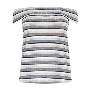 Curves Blue Ribbed Stripe Bardot Neck Top - neckline: off the shoulder; pattern: horizontal stripes; secondary colour: white; predominant colour: mid grey; occasions: casual, creative work; length: standard; style: top; fibres: polyester/polyamide - stretch; fit: body skimming; sleeve length: short sleeve; sleeve style: standard; pattern type: fabric; texture group: jersey - stretchy/drapey; multicoloured: multicoloured; season: s/s 2016; wardrobe: highlight