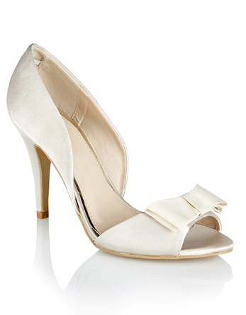 Bow Detail Court Shoe - predominant colour: ivory/cream; occasions: evening, occasion; material: faux leather; heel height: high; heel: stiletto; toe: open toe/peeptoe; style: courts; finish: plain; pattern: plain; embellishment: bow; season: s/s 2016