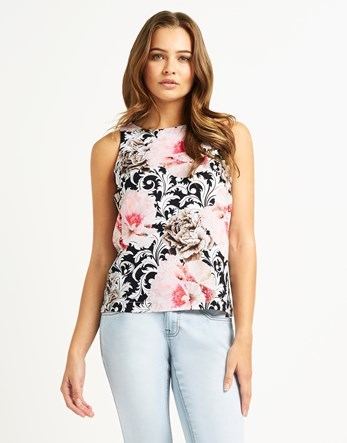 Rose Printed Shell Top - sleeve style: sleeveless; secondary colour: pink; predominant colour: black; occasions: casual, creative work; length: standard; style: top; fibres: polyester/polyamide - 100%; fit: body skimming; neckline: crew; sleeve length: sleeveless; pattern type: fabric; pattern: florals; texture group: other - light to midweight; pattern size: big & busy (top); multicoloured: multicoloured; season: s/s 2016; wardrobe: highlight