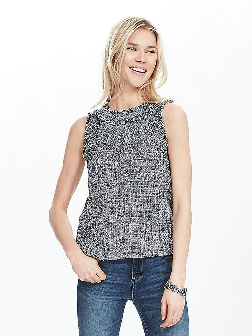 Tweed Shell Blue Multi - sleeve style: sleeveless; pattern: herringbone/tweed; predominant colour: mid grey; occasions: casual; length: standard; style: top; fibres: polyester/polyamide - 100%; fit: body skimming; neckline: crew; sleeve length: sleeveless; pattern type: fabric; texture group: tweed - light/midweight; season: s/s 2016