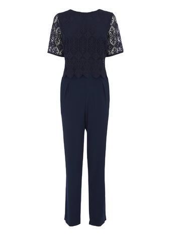 Jersey & Lace Jumpsuit, Navy, Navy - length: standard; neckline: round neck; fit: tailored/fitted; pattern: plain; predominant colour: navy; occasions: evening, occasion; fibres: polyester/polyamide - 100%; sleeve length: short sleeve; sleeve style: standard; style: jumpsuit; pattern type: fabric; texture group: jersey - stretchy/drapey; embellishment: lace; season: s/s 2016; wardrobe: event