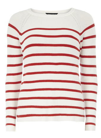 Womens Dorothy Perkins Ivory And Red Striped Jumper, Red - pattern: horizontal stripes; style: standard; hip detail: draws attention to hips; predominant colour: ivory/cream; secondary colour: true red; occasions: casual; length: standard; fit: slim fit; neckline: crew; sleeve length: long sleeve; sleeve style: standard; texture group: knits/crochet; pattern type: fabric; fibres: viscose/rayon - mix; multicoloured: multicoloured; season: s/s 2016; wardrobe: highlight; embellishment: contrast fabric; embellishment location: shoulder