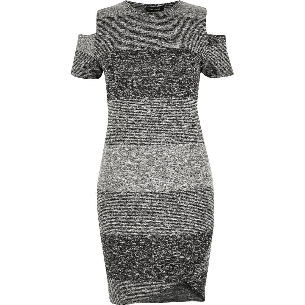 Womens Ri Plus Grey Stripe Cold Shoulder Dress - style: shift; pattern: horizontal stripes; predominant colour: charcoal; secondary colour: light grey; occasions: casual; length: just above the knee; fit: body skimming; fibres: polyester/polyamide - stretch; neckline: crew; shoulder detail: cut out shoulder; sleeve length: short sleeve; sleeve style: standard; texture group: jersey - clingy; pattern type: fabric; multicoloured: multicoloured; season: s/s 2016; wardrobe: highlight