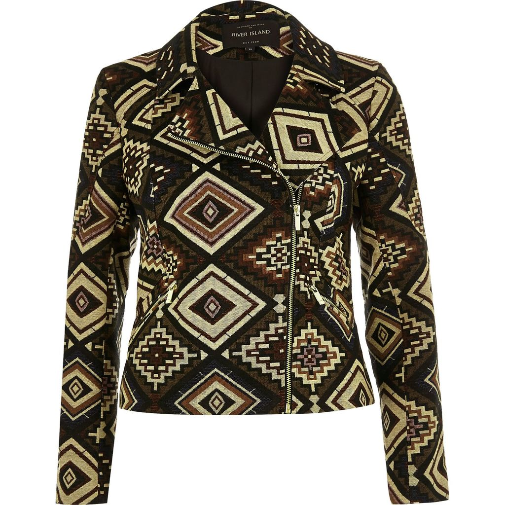 Womens Brown Aztec Pattern Biker Jacket - style: biker; collar: asymmetric biker; fit: slim fit; secondary colour: ivory/cream; predominant colour: chocolate brown; occasions: casual, creative work; length: standard; fibres: polyester/polyamide - 100%; sleeve length: long sleeve; sleeve style: standard; collar break: medium; pattern type: fabric; pattern size: standard; pattern: patterned/print; texture group: woven light midweight; multicoloured: multicoloured; season: s/s 2016