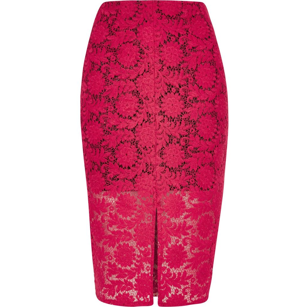 Womens Pink Lace Pencil Skirt - pattern: plain; style: pencil; fit: body skimming; waist: mid/regular rise; predominant colour: hot pink; occasions: evening; length: on the knee; fibres: polyester/polyamide - 100%; texture group: lace; pattern type: fabric; season: s/s 2016; wardrobe: event