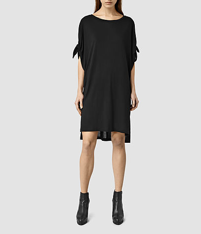 Catkin Tee Dress - style: tunic; neckline: round neck; fit: loose; pattern: plain; predominant colour: black; occasions: casual, creative work; length: just above the knee; fibres: polyester/polyamide - 100%; sleeve length: short sleeve; sleeve style: standard; pattern type: fabric; texture group: other - light to midweight; season: s/s 2016; wardrobe: basic
