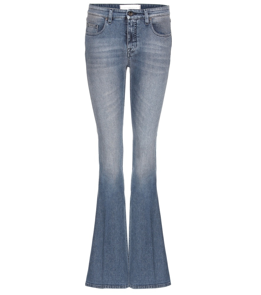 Flared Jeans - style: flares; length: standard; pattern: plain; pocket detail: traditional 5 pocket; waist: mid/regular rise; predominant colour: denim; occasions: casual; fibres: cotton - stretch; jeans detail: whiskering, shading down centre of thigh; texture group: denim; pattern type: fabric; season: s/s 2016; wardrobe: basic