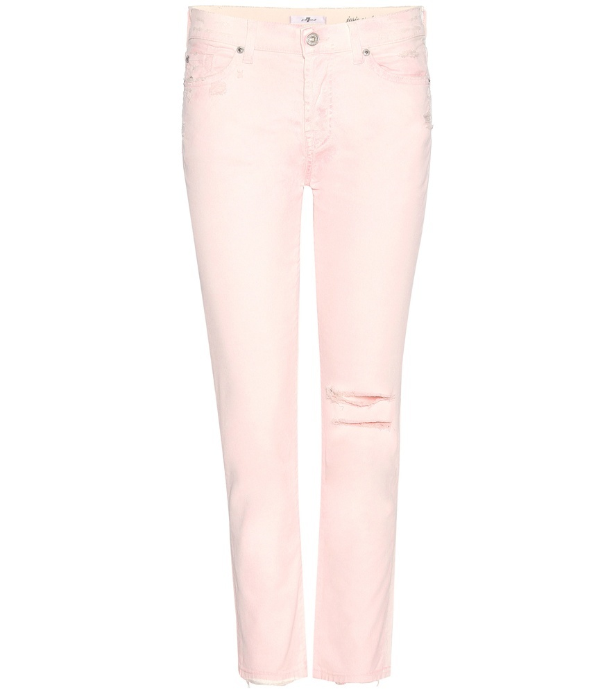 Josie Cropped Jeans - style: skinny leg; pattern: plain; pocket detail: traditional 5 pocket; waist: mid/regular rise; predominant colour: blush; occasions: casual; length: calf length; fibres: cotton - stretch; texture group: denim; pattern type: fabric; season: s/s 2016; wardrobe: highlight