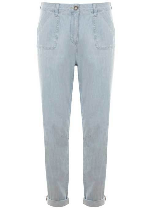 Washed Blue Denim Trouser - style: straight leg; pattern: plain; waist: mid/regular rise; predominant colour: pale blue; occasions: casual, creative work; length: ankle length; fibres: cotton - stretch; jeans & bottoms detail: turn ups; texture group: denim; pattern type: fabric; season: s/s 2016; wardrobe: basic