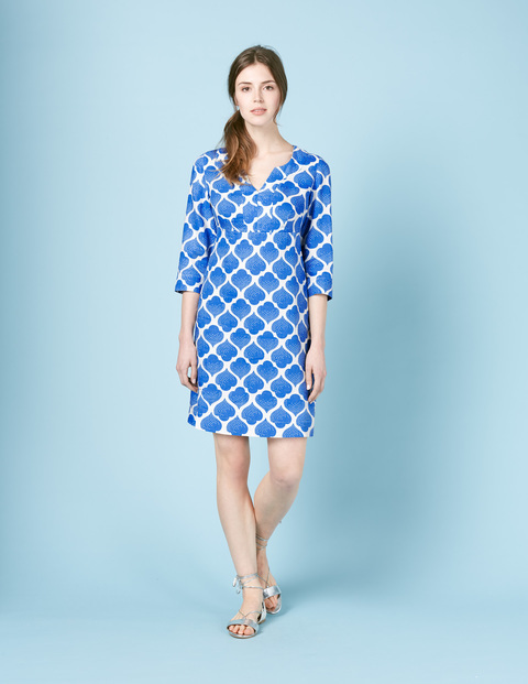 Casual Linen Tunic Dress Blue, Blue Dotty Tile - style: shift; neckline: v-neck; secondary colour: white; predominant colour: royal blue; occasions: casual; length: on the knee; fit: body skimming; fibres: linen - 100%; sleeve length: 3/4 length; sleeve style: standard; texture group: linen; pattern type: fabric; pattern: patterned/print; multicoloured: multicoloured; season: s/s 2016