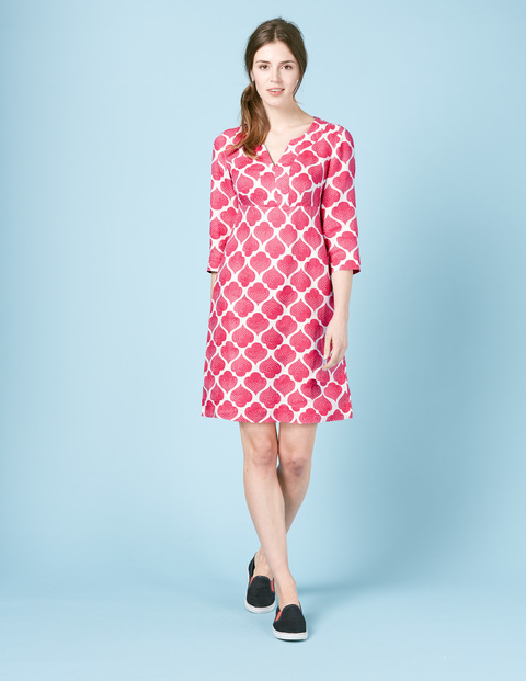 Casual Linen Tunic Dress Blue, Red Dotty Tile - style: shift; neckline: v-neck; secondary colour: white; predominant colour: hot pink; occasions: casual; length: just above the knee; fit: body skimming; fibres: linen - 100%; sleeve length: 3/4 length; sleeve style: standard; texture group: linen; pattern type: fabric; pattern: patterned/print; multicoloured: multicoloured; season: s/s 2016; wardrobe: highlight