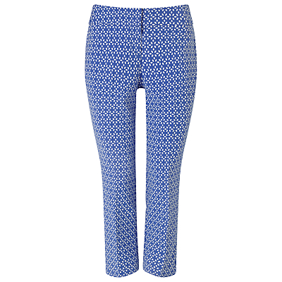 Erica Petal Trousers, Blue/Ivory - waist: high rise; secondary colour: white; predominant colour: royal blue; occasions: casual, creative work; length: calf length; fibres: polyester/polyamide - mix; fit: slim leg; pattern type: fabric; pattern: patterned/print; texture group: other - light to midweight; style: standard; season: s/s 2016; wardrobe: highlight