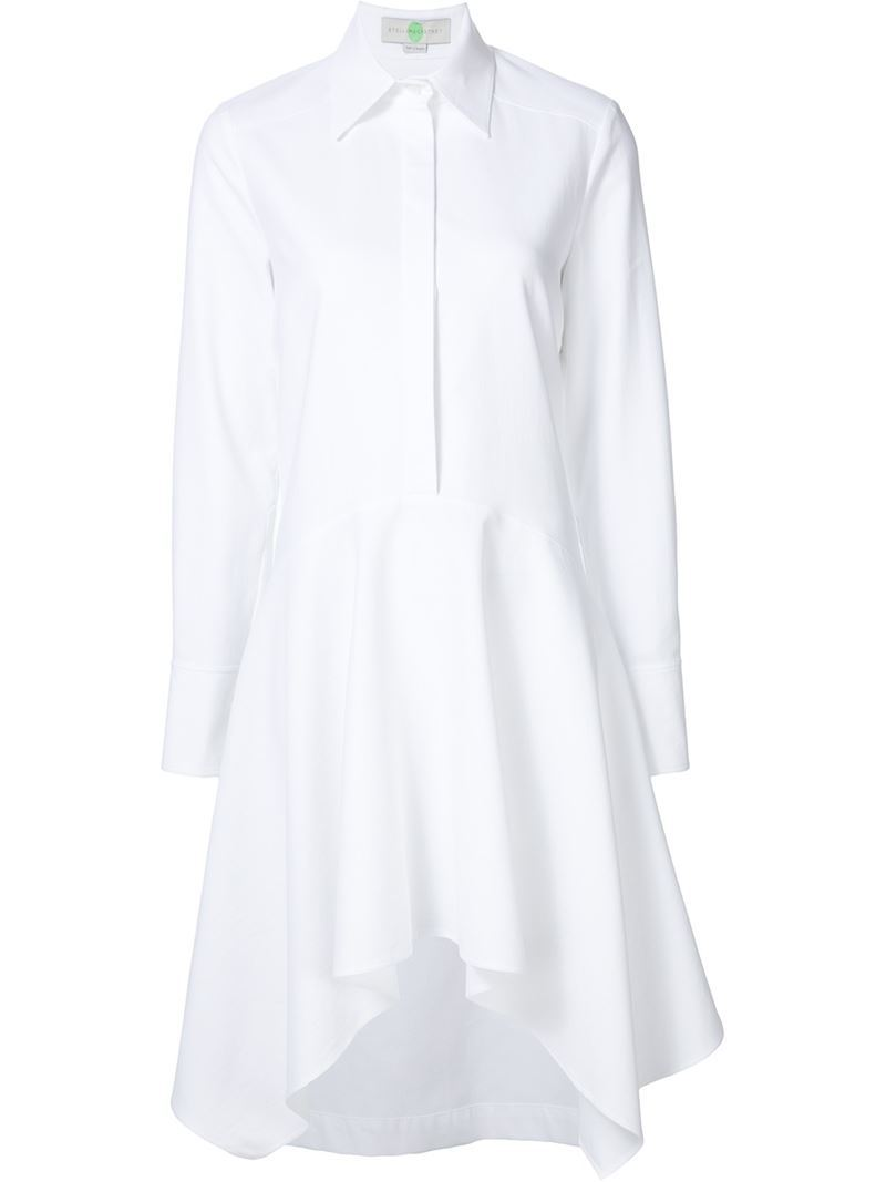 Shirt Dress, Women's, White - style: shirt; neckline: shirt collar/peter pan/zip with opening; pattern: plain; waist detail: belted waist/tie at waist/drawstring; predominant colour: white; length: just above the knee; fit: body skimming; fibres: cotton - 100%; hip detail: adds bulk at the hips; sleeve length: long sleeve; sleeve style: standard; texture group: cotton feel fabrics; pattern type: fabric; occasions: creative work; season: s/s 2016; wardrobe: highlight