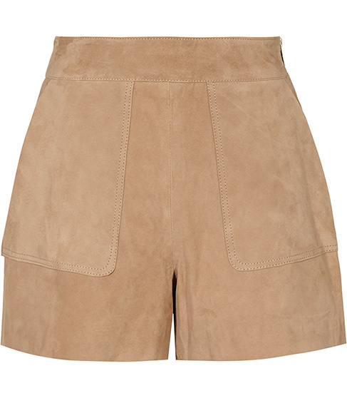 Paris Suede Shorts - pattern: plain; waist: high rise; predominant colour: camel; occasions: casual; fibres: leather - 100%; pattern type: fabric; texture group: suede; season: s/s 2016; style: shorts; length: short shorts; fit: slim leg; wardrobe: highlight