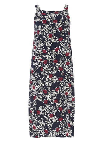 Womens Navy Floral Pinny Dress Blue - style: shift; neckline: high square neck; sleeve style: sleeveless; secondary colour: white; predominant colour: navy; occasions: casual; length: on the knee; fit: body skimming; fibres: viscose/rayon - 100%; sleeve length: sleeveless; pattern type: fabric; pattern: florals; texture group: other - light to midweight; multicoloured: multicoloured; season: s/s 2016; wardrobe: highlight