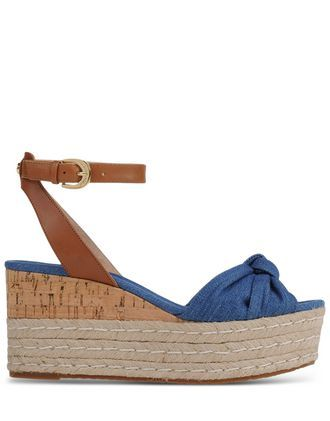 Espadrilles Espadrilles On Shoescribe.Com - predominant colour: denim; secondary colour: tan; occasions: casual, holiday; material: fabric; heel height: high; ankle detail: ankle strap; heel: wedge; toe: open toe/peeptoe; style: strappy; finish: plain; pattern: colourblock; shoe detail: platform; season: s/s 2016; wardrobe: highlight