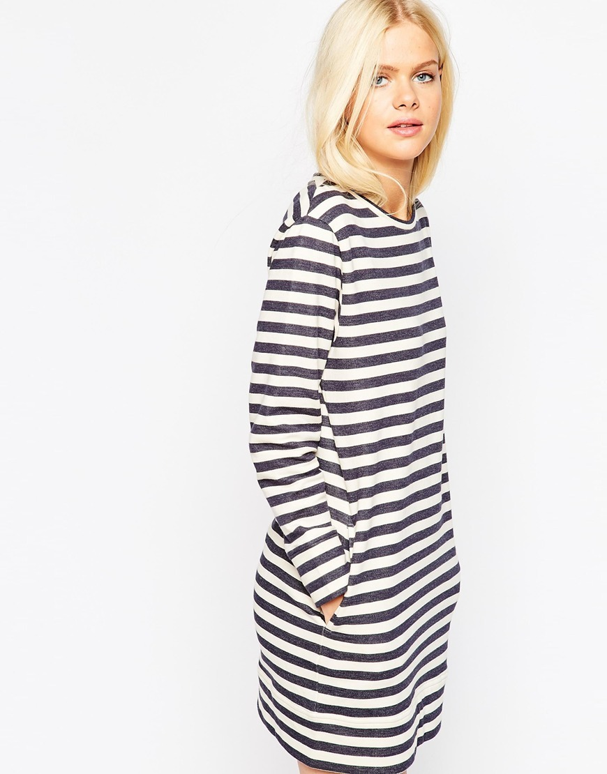 Sweat Dress In Stripe Multi - style: shift; neckline: round neck; pattern: horizontal stripes; secondary colour: ivory/cream; predominant colour: navy; occasions: casual; length: just above the knee; fit: body skimming; fibres: cotton - stretch; sleeve length: long sleeve; sleeve style: standard; pattern type: fabric; texture group: other - light to midweight; season: s/s 2016