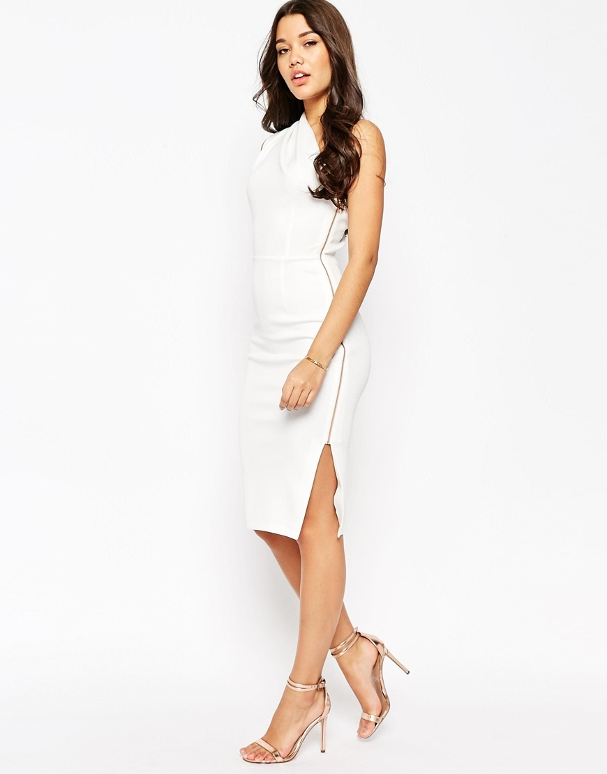 One Shoulder Midi With Exposed Zip Dress Ivory - length: below the knee; fit: tight; pattern: plain; sleeve style: sleeveless; style: bodycon; neckline: asymmetric; predominant colour: white; occasions: evening; fibres: polyester/polyamide - stretch; sleeve length: sleeveless; pattern type: fabric; texture group: other - light to midweight; season: s/s 2016; wardrobe: event