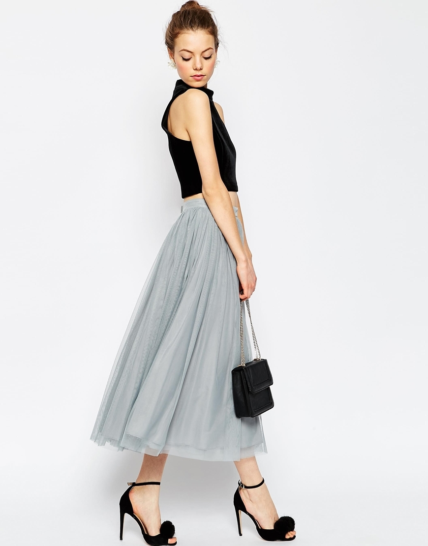 Tulle Prom Skirt With Multi Layers Grey - length: calf length; pattern: plain; style: full/prom skirt; fit: loose/voluminous; waist: high rise; predominant colour: light grey; fibres: polyester/polyamide - 100%; occasions: occasion; hip detail: soft pleats at hip/draping at hip/flared at hip; texture group: sheer fabrics/chiffon/organza etc.; pattern type: fabric; season: s/s 2016