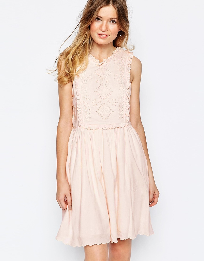 Sister Broderie Bib Sundress In Pink Pink 41 - pattern: plain; sleeve style: sleeveless; predominant colour: blush; occasions: evening; length: just above the knee; fit: fitted at waist & bust; style: fit & flare; fibres: viscose/rayon - 100%; neckline: crew; sleeve length: sleeveless; pattern type: fabric; texture group: broiderie anglais; season: s/s 2016; wardrobe: event
