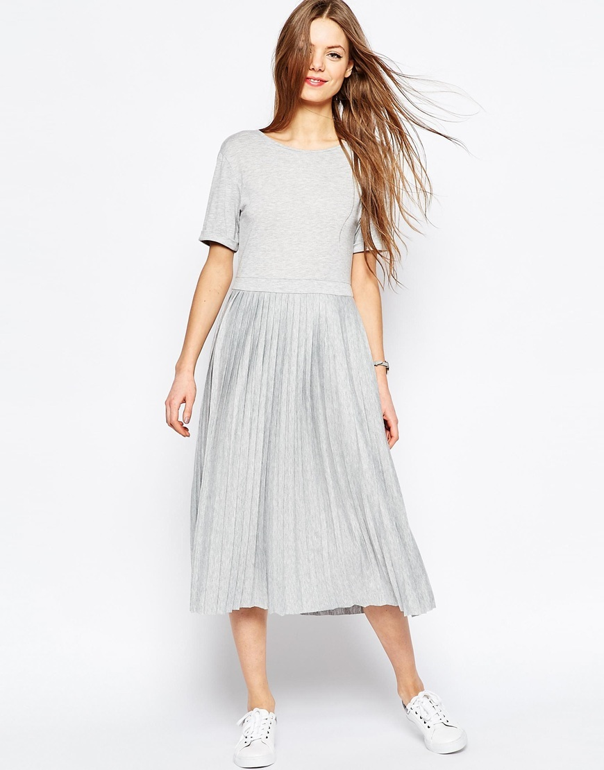 Pleated Midi Dress Grey - length: calf length; neckline: round neck; pattern: plain; predominant colour: light grey; occasions: casual, creative work; fit: fitted at waist & bust; style: fit & flare; fibres: polyester/polyamide - stretch; hip detail: adds bulk at the hips; sleeve length: short sleeve; sleeve style: standard; pattern type: fabric; texture group: jersey - stretchy/drapey; season: s/s 2016; wardrobe: basic