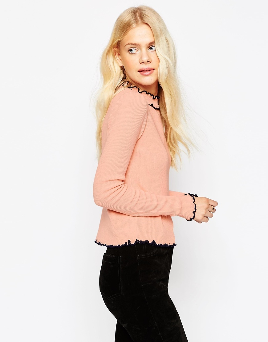 Jumper In Rib With Ruffle Neck With Tipping Blush - pattern: plain; style: standard; predominant colour: blush; occasions: casual; length: standard; fibres: acrylic - 100%; fit: slim fit; neckline: crew; sleeve length: long sleeve; sleeve style: standard; texture group: knits/crochet; pattern type: fabric; season: s/s 2016; wardrobe: basic