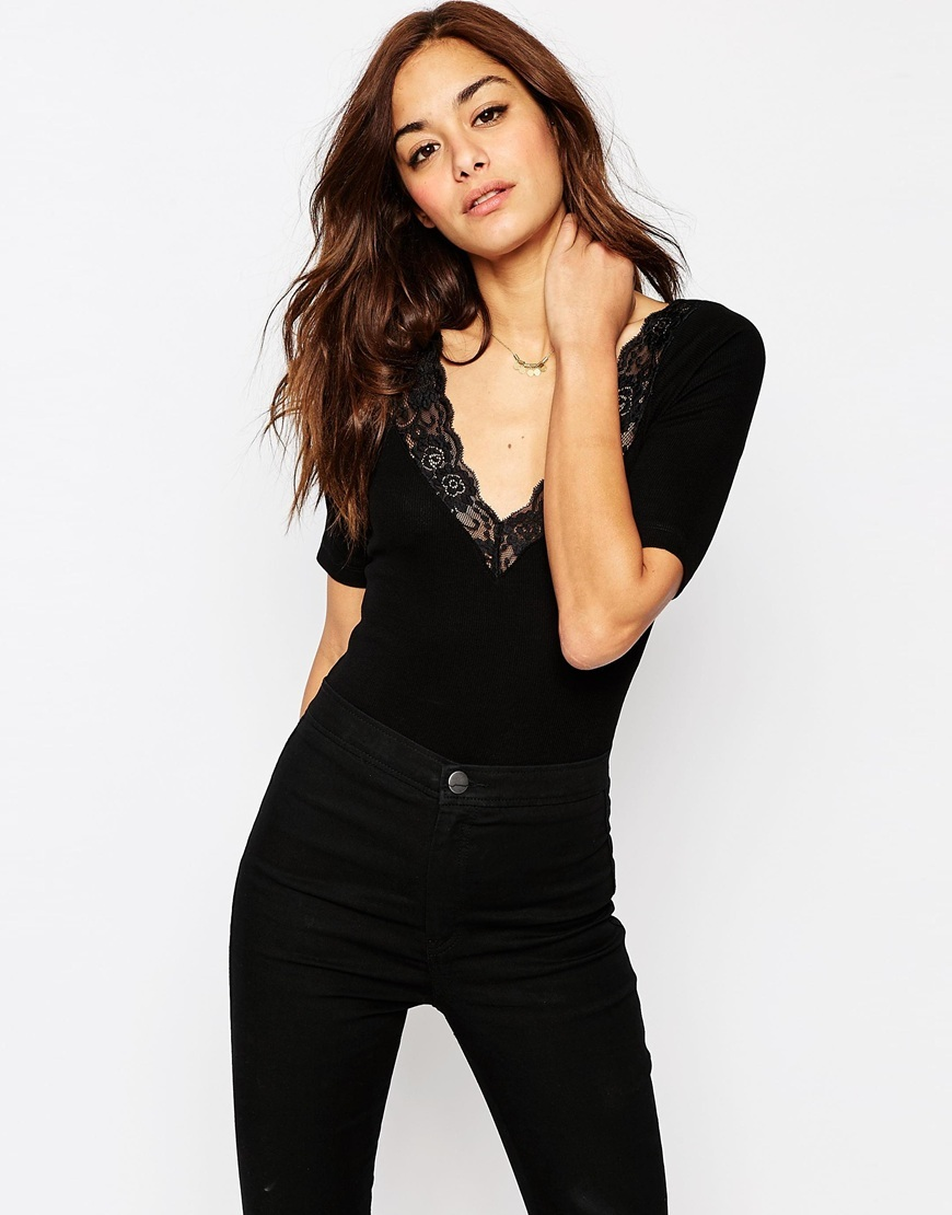 Body With Half Sleeve And Lace Trim Black - neckline: v-neck; pattern: plain; predominant colour: black; occasions: casual; length: standard; fibres: viscose/rayon - stretch; fit: tight; sleeve length: half sleeve; sleeve style: standard; texture group: jersey - clingy; pattern type: fabric; embellishment: lace; style: bodysuit; season: s/s 2016; wardrobe: highlight; embellishment location: bust