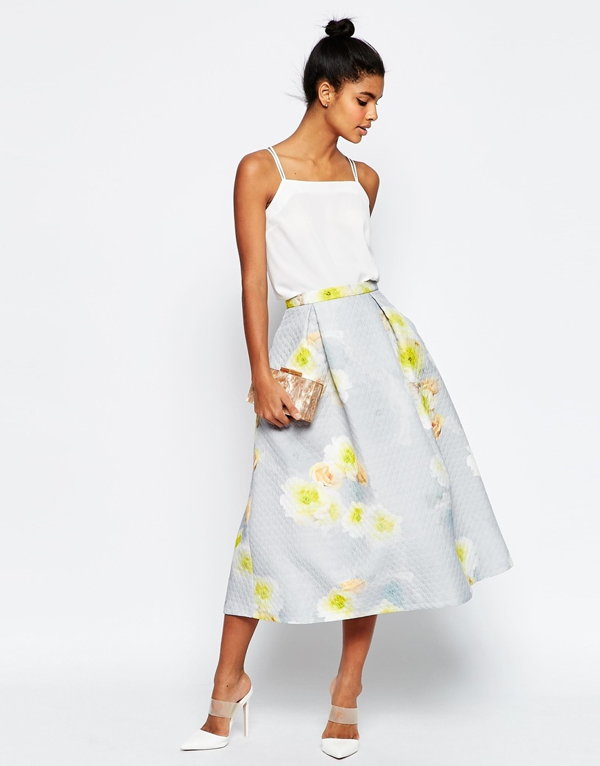 Printed Prom Midi Skirt In Texture Co Ord Grey - length: below the knee; style: full/prom skirt; fit: loose/voluminous; waist: high rise; secondary colour: primrose yellow; predominant colour: light grey; fibres: polyester/polyamide - 100%; occasions: occasion; hip detail: soft pleats at hip/draping at hip/flared at hip; waist detail: narrow waistband; pattern type: fabric; pattern: patterned/print; texture group: woven light midweight; pattern size: standard (bottom); multicoloured: multicoloured; season: s/s 2016