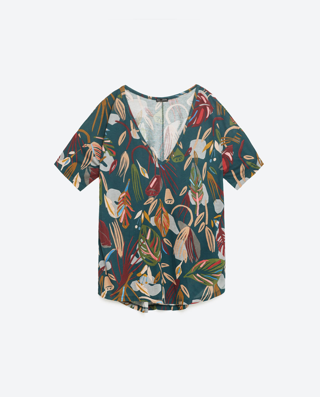 Floral Print T Shirt - neckline: low v-neck; style: t-shirt; secondary colour: burgundy; predominant colour: teal; occasions: casual; length: standard; fibres: cotton - stretch; fit: loose; sleeve length: short sleeve; sleeve style: standard; pattern type: fabric; pattern: florals; texture group: jersey - stretchy/drapey; pattern size: big & busy (top); multicoloured: multicoloured; season: s/s 2016; wardrobe: highlight
