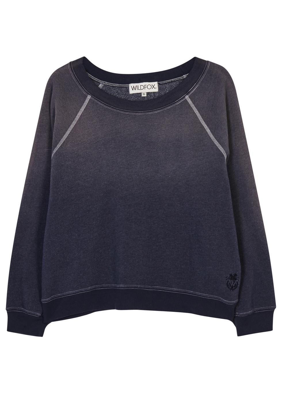 Kim's Navy Cotton Blend Sweatshirt - neckline: round neck; pattern: plain; style: sweat top; predominant colour: navy; occasions: casual, activity; length: standard; fibres: cotton - mix; fit: loose; sleeve length: long sleeve; sleeve style: standard; pattern type: fabric; texture group: jersey - stretchy/drapey; season: s/s 2016