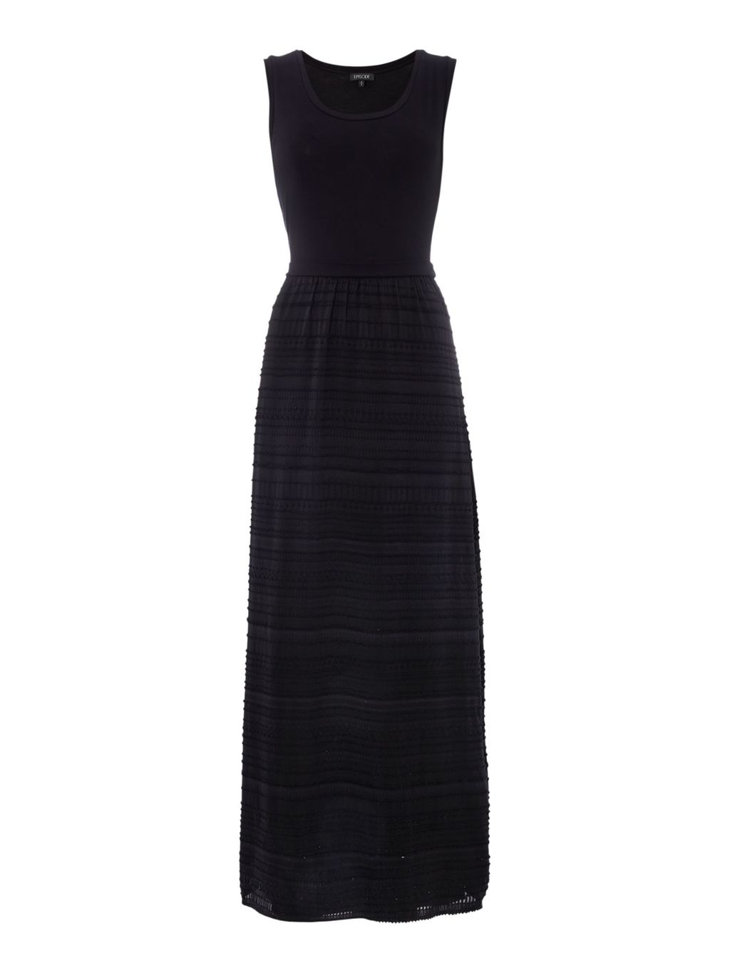 Maxi Dress With 2 Tone Stripe, Black - pattern: horizontal stripes; sleeve style: sleeveless; style: maxi dress; predominant colour: black; occasions: evening; length: floor length; fit: body skimming; fibres: viscose/rayon - stretch; neckline: crew; sleeve length: sleeveless; pattern type: fabric; texture group: jersey - stretchy/drapey; season: s/s 2016; wardrobe: event
