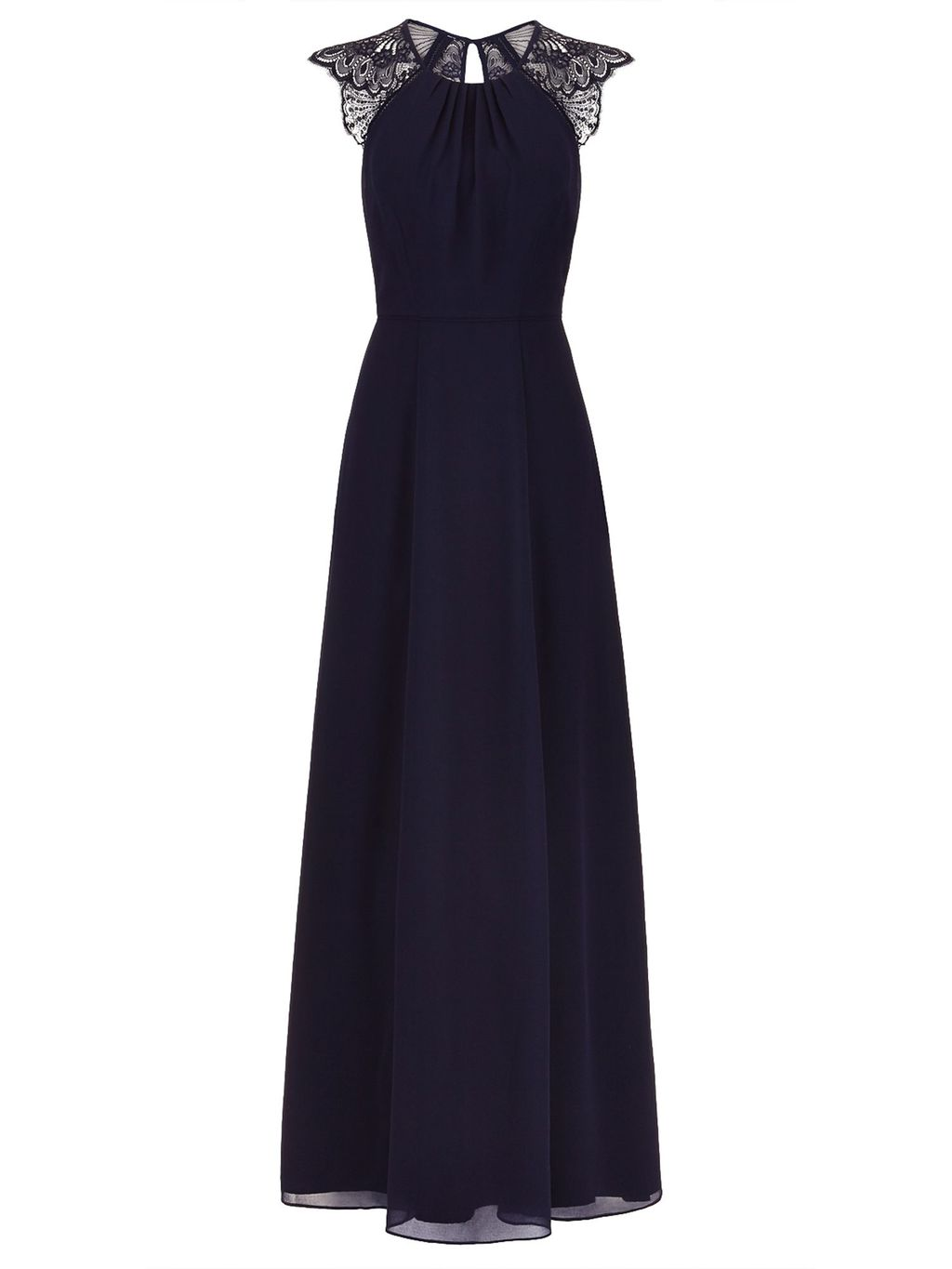 Bluebell Maxi Dress, Navy - sleeve style: capped; pattern: plain; style: maxi dress; length: ankle length; predominant colour: navy; occasions: evening; fit: body skimming; fibres: nylon - mix; neckline: crew; sleeve length: short sleeve; texture group: sheer fabrics/chiffon/organza etc.; pattern type: fabric; embellishment: lace; shoulder detail: sheer at shoulder; season: s/s 2016; wardrobe: event