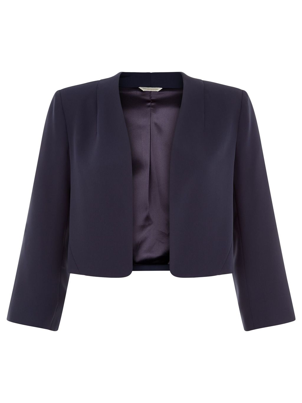 Summer Jacket, Navy - pattern: plain; style: single breasted blazer; collar: round collar/collarless; predominant colour: navy; occasions: evening, occasion; length: standard; fit: tailored/fitted; fibres: polyester/polyamide - 100%; sleeve length: 3/4 length; sleeve style: standard; collar break: low/open; pattern type: fabric; texture group: woven light midweight; season: s/s 2016; wardrobe: event