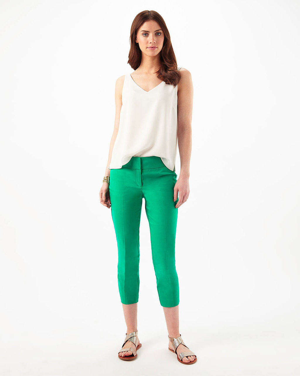 Betty Crop Trouser - pattern: plain; waist: mid/regular rise; predominant colour: emerald green; occasions: casual; length: calf length; fibres: cotton - mix; fit: skinny/tight leg; pattern type: fabric; texture group: other - light to midweight; style: standard; season: s/s 2016; wardrobe: highlight