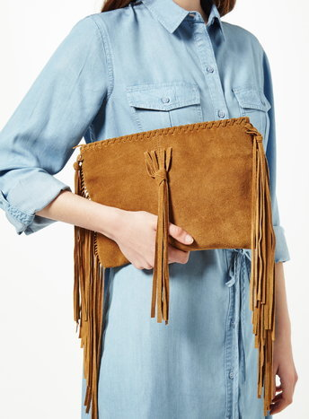 Womens Fringe Cross Body Bag, Tan - predominant colour: tan; occasions: evening, occasion; type of pattern: standard; style: clutch; length: hand carry; size: standard; material: suede; embellishment: fringing; pattern: plain; finish: plain; season: s/s 2016; wardrobe: event