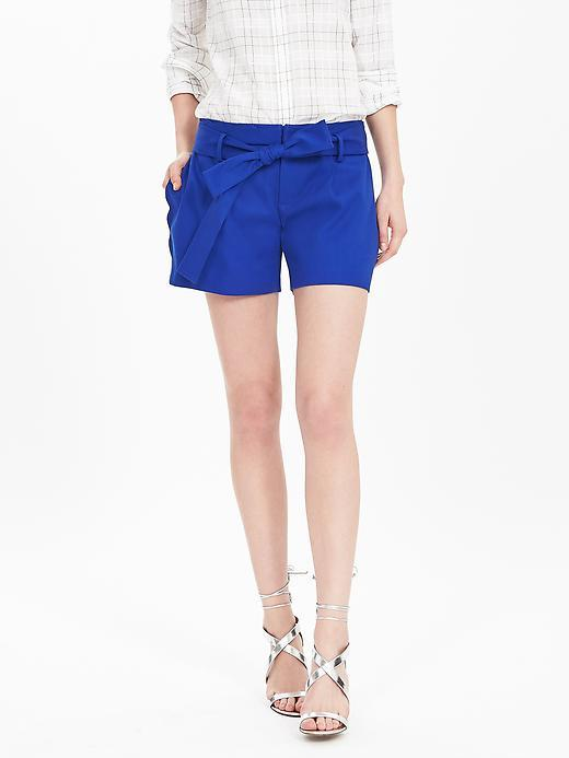 Scallop Short Neon Cobalt - pattern: plain; waist: mid/regular rise; predominant colour: royal blue; occasions: casual; fibres: cotton - stretch; texture group: cotton feel fabrics; pattern type: fabric; season: s/s 2016; style: shorts; length: short shorts; fit: slim leg