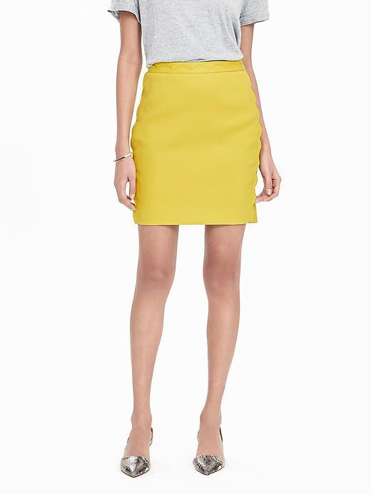 Scalloped Skirt Lively Chartreuse - pattern: plain; style: pencil; fit: body skimming; waist: mid/regular rise; predominant colour: yellow; occasions: casual; length: just above the knee; fibres: cotton - stretch; texture group: cotton feel fabrics; pattern type: fabric; season: s/s 2016; wardrobe: highlight