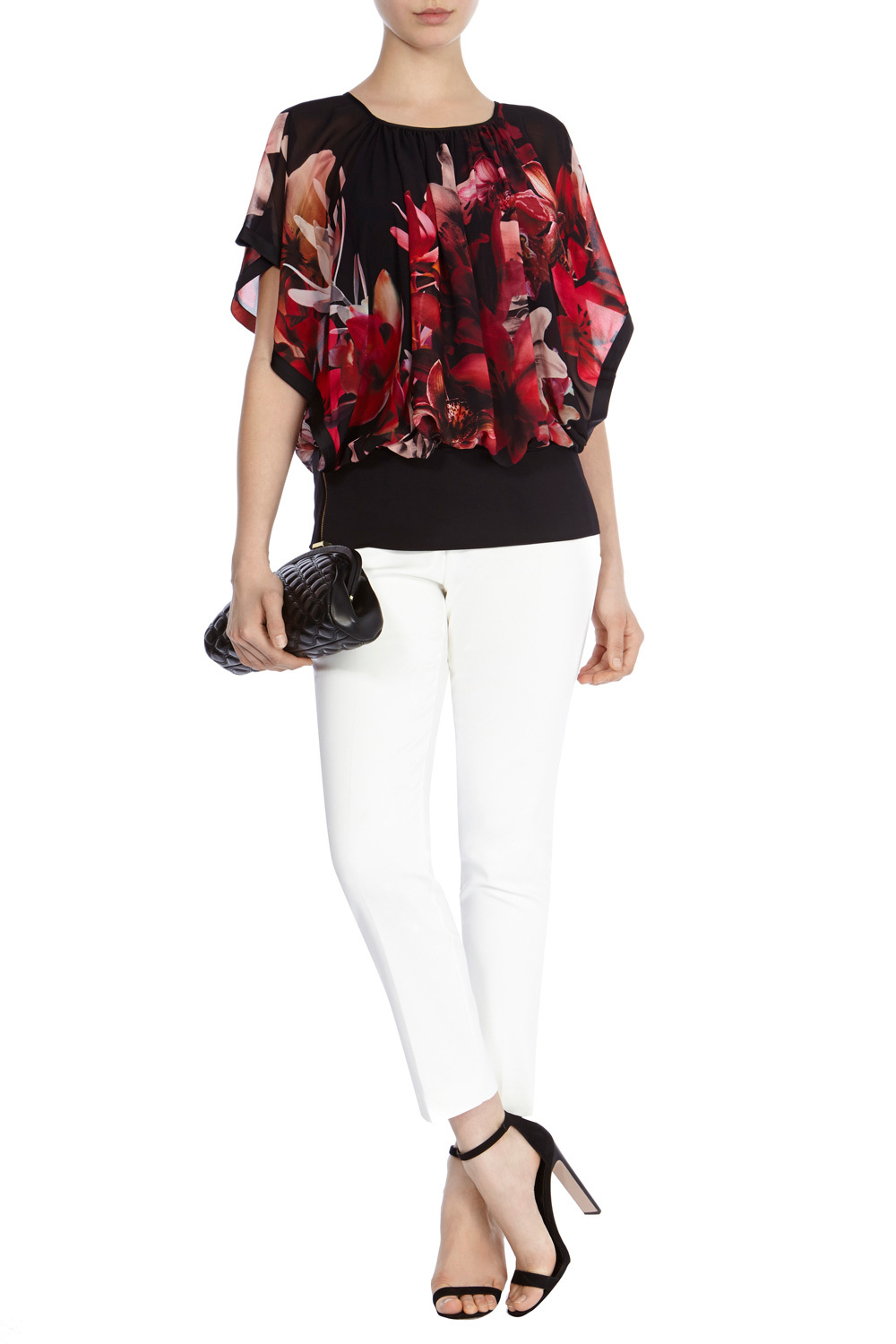 Elena Printed Calla Top - neckline: round neck; sleeve style: dolman/batwing; secondary colour: true red; predominant colour: black; occasions: evening; length: standard; style: top; fibres: polyester/polyamide - 100%; fit: body skimming; sleeve length: half sleeve; texture group: sheer fabrics/chiffon/organza etc.; pattern type: fabric; pattern: florals; multicoloured: multicoloured; season: s/s 2016; wardrobe: event