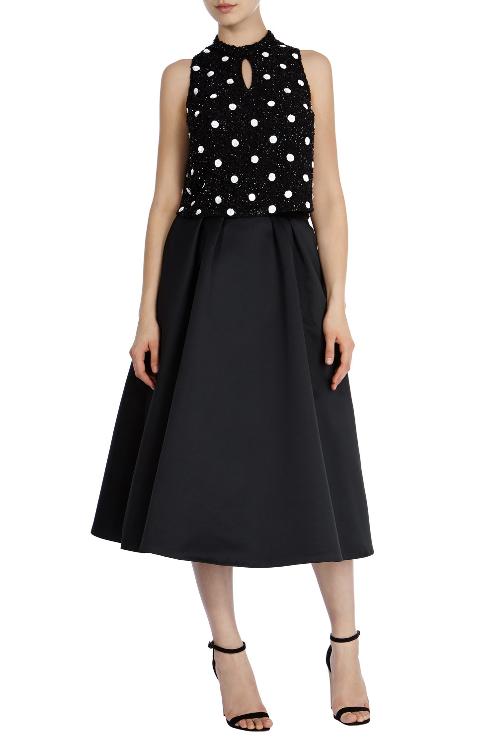 Elsa Spot Sequin Top - sleeve style: sleeveless; pattern: polka dot; secondary colour: white; predominant colour: black; occasions: evening; length: standard; style: top; neckline: peep hole neckline; fibres: polyester/polyamide - 100%; fit: body skimming; sleeve length: sleeveless; pattern type: fabric; pattern size: standard; texture group: other - light to midweight; embellishment: sequins; season: s/s 2016; wardrobe: event