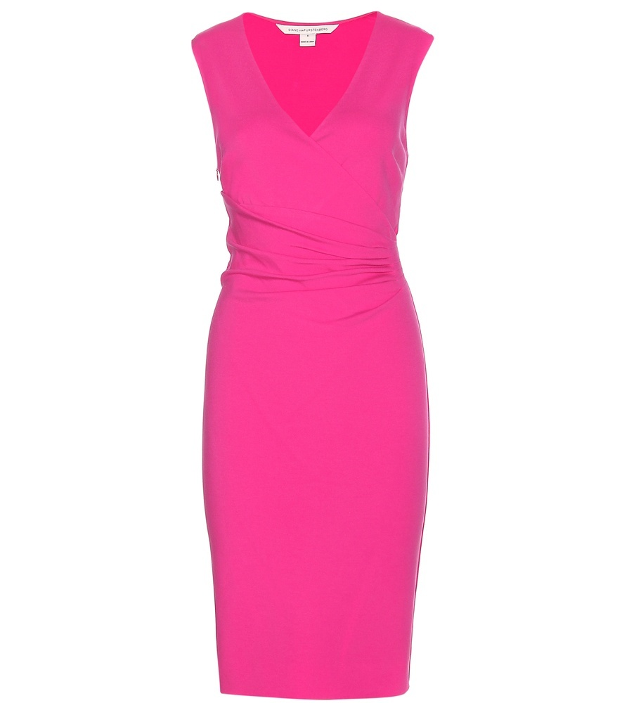 Layne Jersey Dress - style: shift; neckline: v-neck; pattern: plain; sleeve style: sleeveless; hip detail: draws attention to hips; predominant colour: hot pink; occasions: evening; length: on the knee; fit: body skimming; fibres: viscose/rayon - stretch; sleeve length: sleeveless; pattern type: fabric; texture group: jersey - stretchy/drapey; season: s/s 2016; wardrobe: event