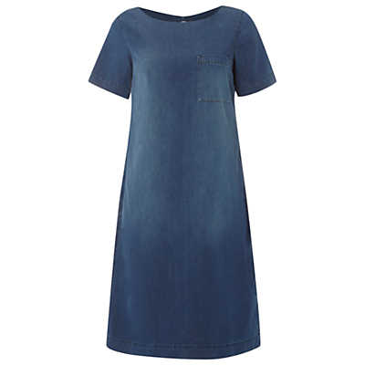 Summer Dress, Denim - style: a-line; neckline: round neck; fit: loose; pattern: plain; bust detail: pocket detail at bust; predominant colour: denim; occasions: casual, creative work; length: just above the knee; fibres: cotton - mix; sleeve length: short sleeve; sleeve style: standard; texture group: denim; pattern type: fabric; season: s/s 2016; wardrobe: basic