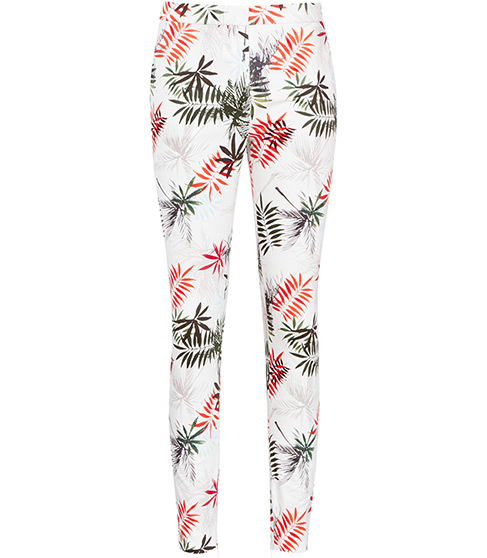 Selena Trouser Printed Trousers - waist: mid/regular rise; predominant colour: white; secondary colour: bright orange; occasions: casual, holiday, creative work; length: ankle length; fibres: cotton - stretch; fit: skinny/tight leg; pattern type: fabric; pattern: patterned/print; texture group: woven light midweight; style: standard; pattern size: standard (bottom); multicoloured: multicoloured; season: s/s 2016; wardrobe: highlight